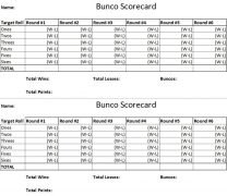 Bunco Score Card
