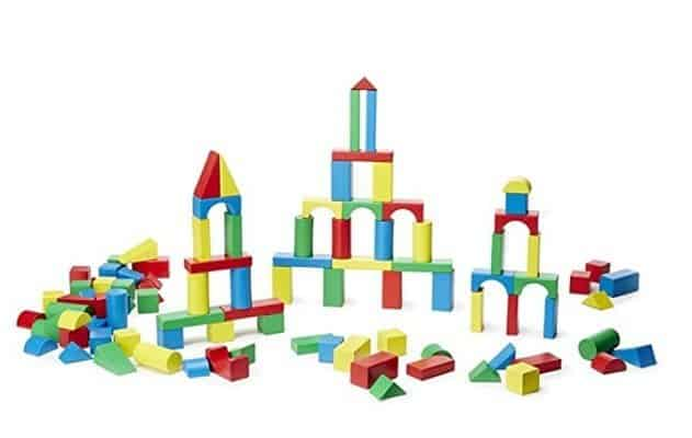 Melissa & Doug Wooden Building Blocks Set for Young Kids