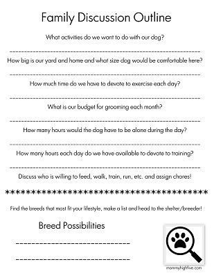 Mommyhighfive.com Family Discussion Questionnaire on Dog Breed Selection