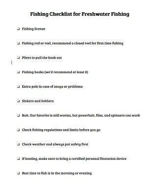 Fishing Checklist for Freshwater Fishing