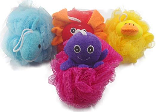 Loofah Exfoliating Shower Stuffed SpongeWith Animal Toys by Mr. Cui'shop