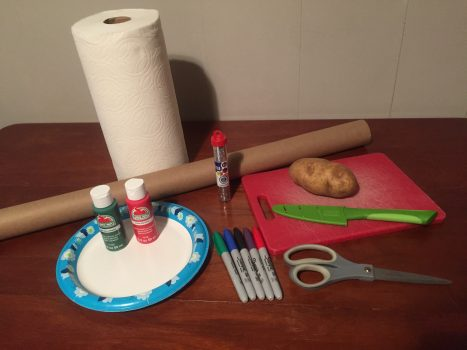 Supplies for Potato Stamp Wrapping Paper