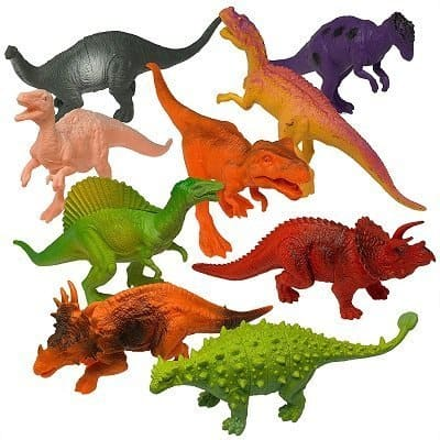 "Prextex 7"" Dinosaur 12-Pack and Book for Kids"