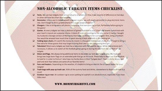 non alcoholic tailgate item checklist