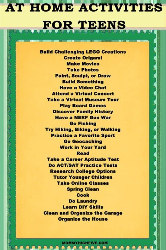 Printable Teen Activity List