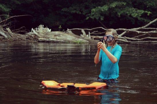 Lake swimming while camping